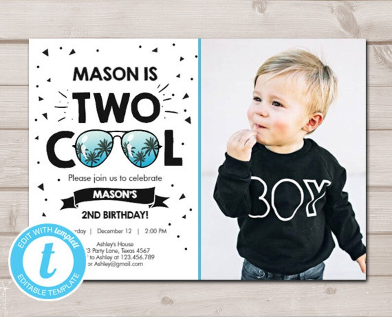 Two Cool Birthday Invite 2nd Party Invitation Im This Many Download Printable Template Editable Digital 0136