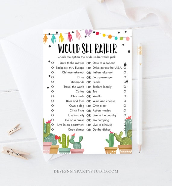 picture regarding Would She Rather Bridal Shower Game Free Printable titled Would She Quite Bridal Shower Sport Wedding day Shower Sport