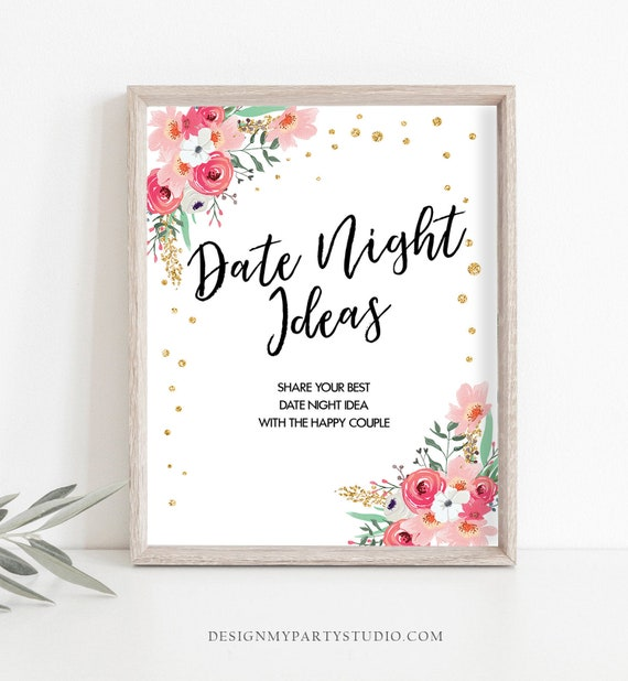 Date Night Ideas Bridal Shower Game Floral Pink And Gold Date Jar Sign Date Night Shower Games Activity Instant Download Printable 0030 0318 By Design My Party Studio Catch My Party