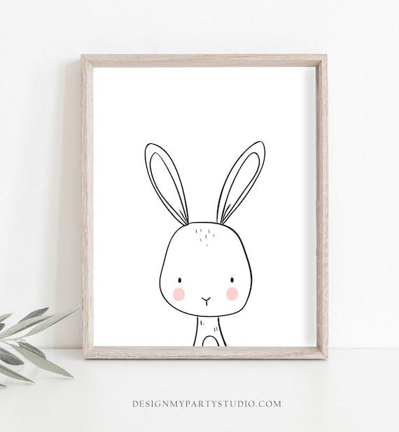 Watercolor Bunny Illustrated Art Bunny Wall Art Rabbit Princess with Crown Nursery Print Girls Room Decor Cute Bunny Rabbit Framed Print