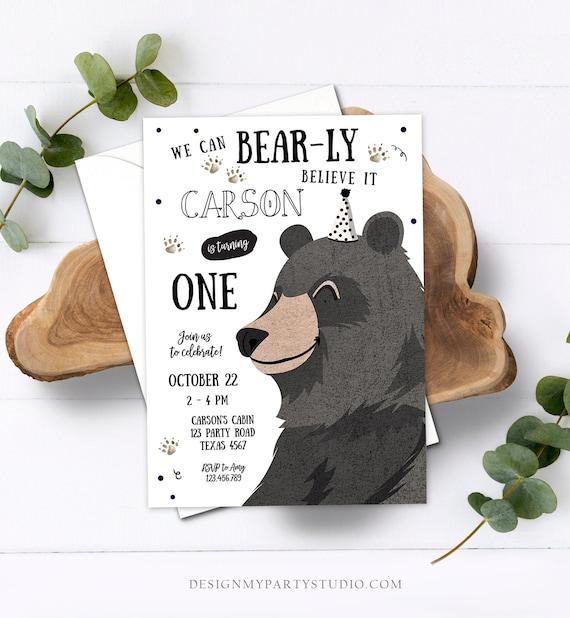 Birthday Invitation for Boys Virtual Birthday Boy Printable Invite Digital Template Bear Instant Access Birthday Invitation You Edit