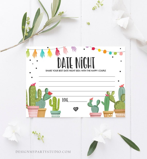Date Night Ideas Bridal Shower Game Date Night Idea Card Date Jar Fiesta Cactus Shower Game Activities Mexican Download Printable 0254 By Design My Party Studio Catch My Party