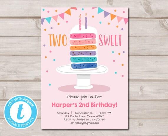photo regarding Printable Marshmallow Template called 2 Cute Birthday invitation Lady Rainbow Cake Invitation