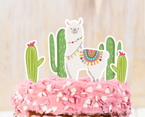 Pleasant Llama Cake Topper Llama Birthday Llama Party Decor Fiesta Mexican Birthday Cards Printable Benkemecafe Filternl