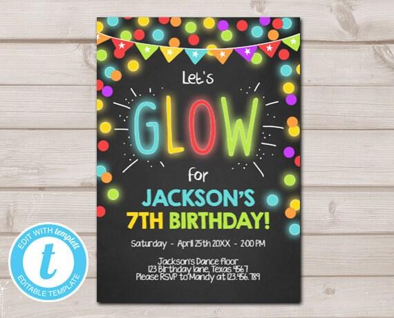 Neon Glow In The Dark Birthday Invitation Party Disco Boy Lumo