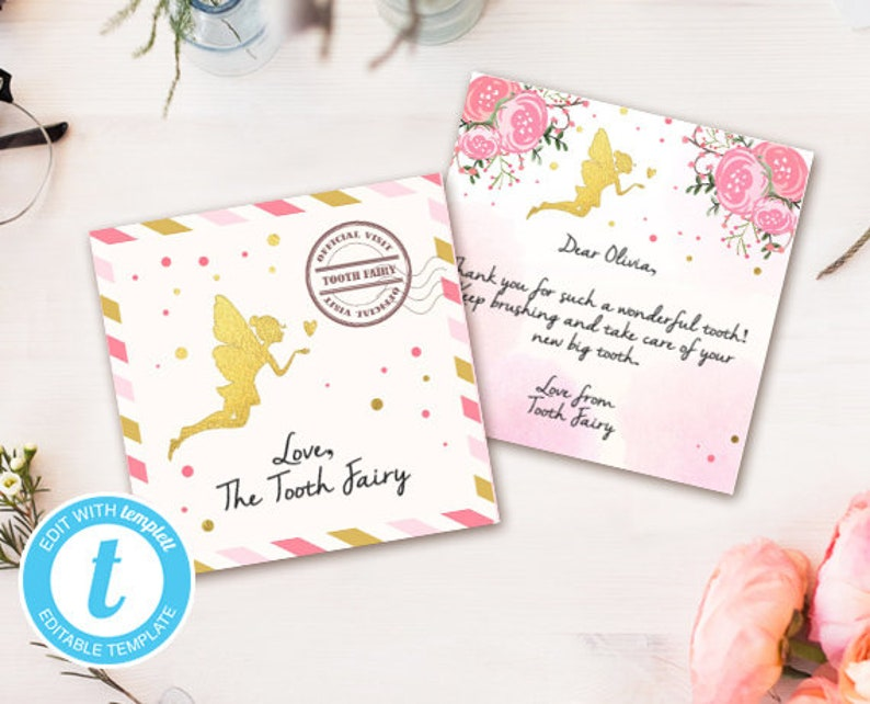 graphic regarding Free Printable Tooth Fairy Letter and Envelope called Teeth fairy letter Teeth fairy envelope Fairy package Milestone Teeth youngster teeth Fairy observe Editable Template Mini letter 3x3\