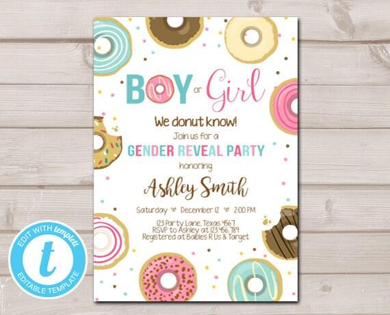 Donut Gender Reveal Invitation Baby Shower Boy or Girl ...