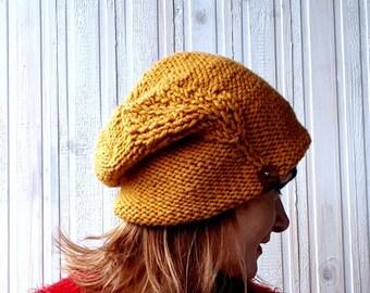 39b20299fec Slouchy beanie women Cable knit hat Mustard yellow hat Chunky knit hat  Slouch hat Chunky beanie Oversized beanie Boho hat Hand knit beanie