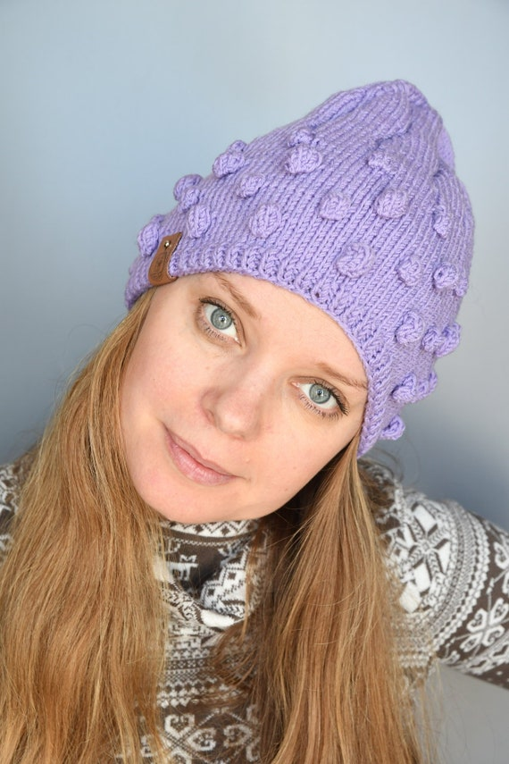 cafaf94b725 Purple cable knit hat Slouchy beanie women Chunky wool hat