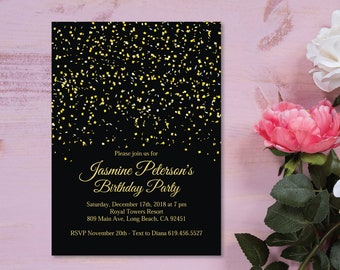 Black Pink Gold Birthday Party Invitation Gold And Black Etsy