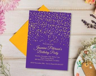 Purple Gold Birthday Party Invitation And Invitations TEMPLATE Instatnt Download Confetti