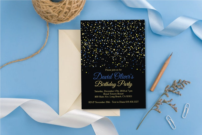 Black Blue Gold Birthday Party Invitation And