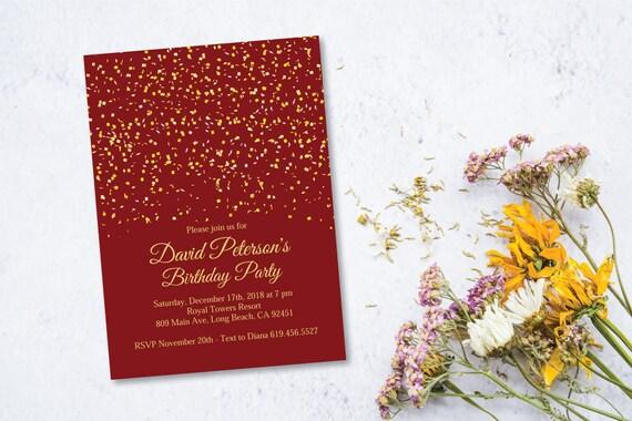 red gold birthday party invitation burgundy birthday etsy