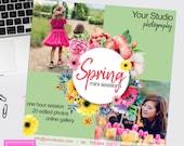 Spring minis, Mini Session Digital Social Media Marketing Board - psd template