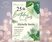 "Birthday invitation - ""Plants"" - for woman - jungle - Digital, easy, fast >> NEW 2020!! EDITABLE PDF"