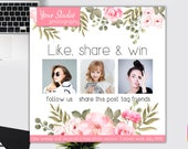 2019 Contest Template, Giveaway Template, Facebook Template, Social Media Template, Instagram Template, Like and Share, Share and win