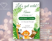 "NEW 2020!! EDITABLE PDF >> Birthday invitation - ""Let's get wild!"" - Cute animals - Baby pets - Digital, easy, fast"
