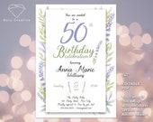 "Birthday invitation - ""Lavender"" - for woman - plants - Digital, easy, fast >> NEW 2020!! EDITABLE PDF"