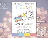 NEW 2020!! EDITABLE PDF >> Birthday invitation, Kitten Birthday, Invites, Digital, Cat, Unicorn, 2nd, 3rd, Kitty Invite, Instant Download