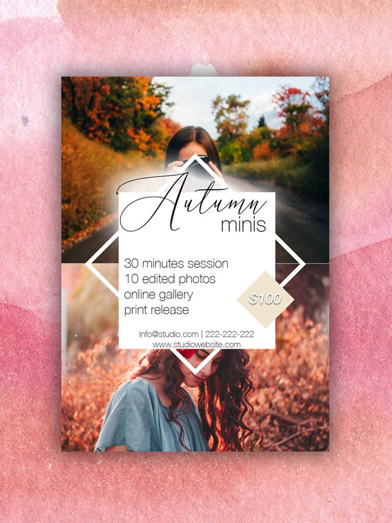 Psd template Fall Mini Session Template Autumn Photography Marketing board Card Template