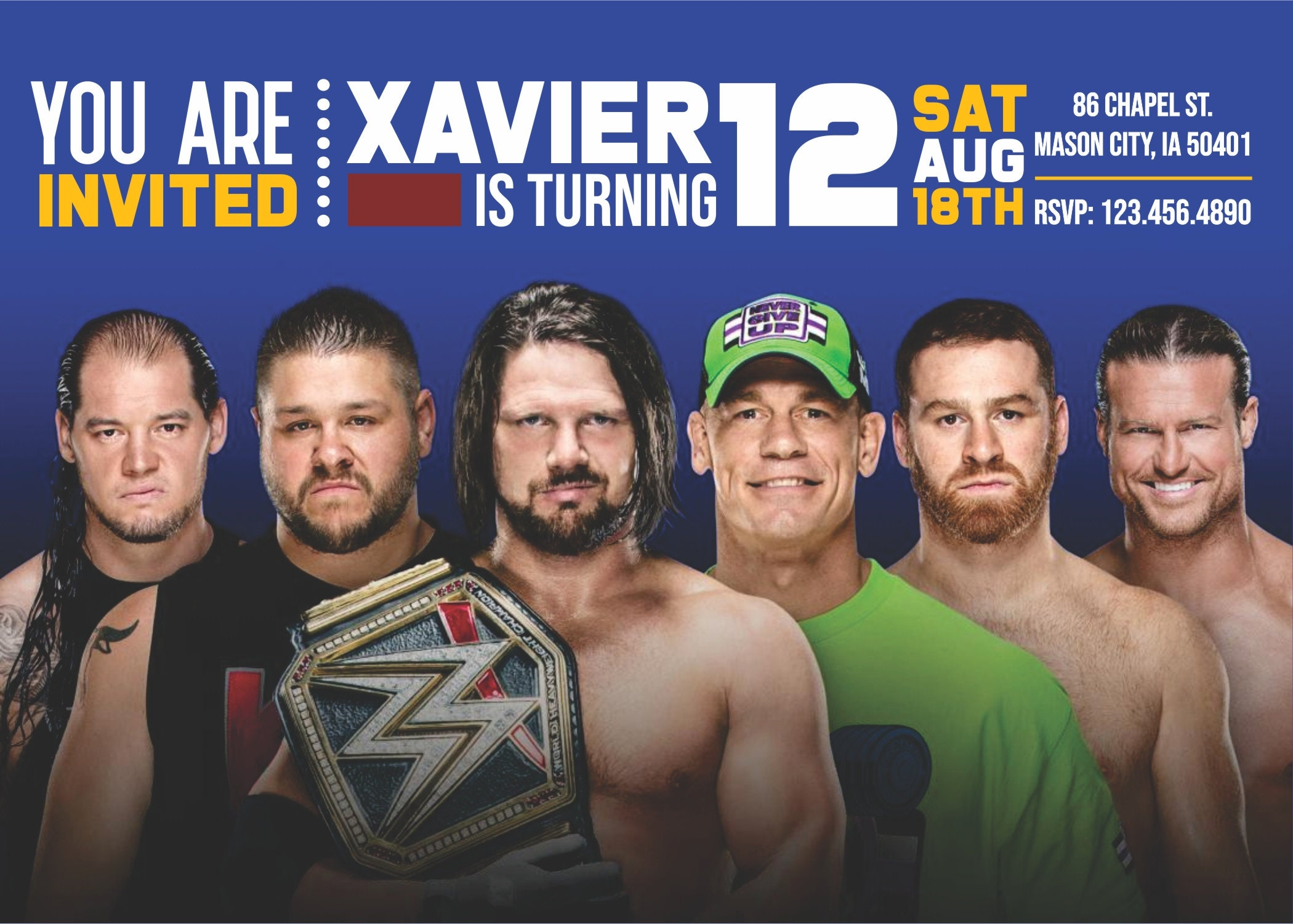 WWE Invitation Party Invitations Birthday