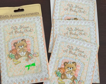 Vintage Gibson Greeting Cards Baby Girl Birth Announcements 11 Cards /& Envelopes