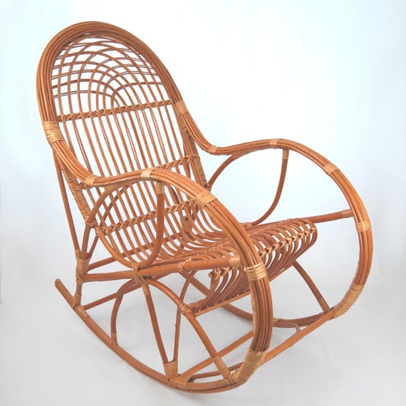 Stupendous Handmade Wicker Rocking Chair Natural Brown Spiritservingveterans Wood Chair Design Ideas Spiritservingveteransorg