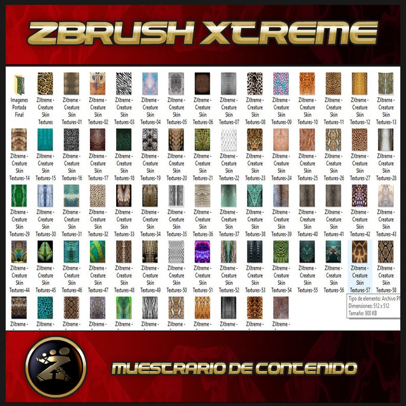 Pack 70 Creature Textures for Zbrush