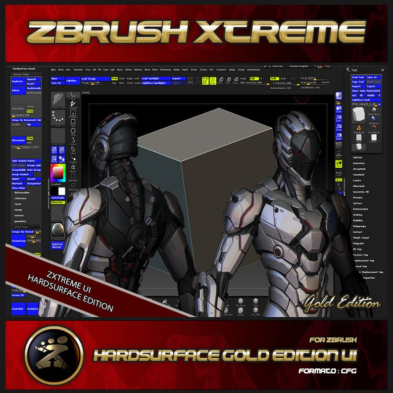 Custom Interface For Zbrush | HardSurface Gold Edition