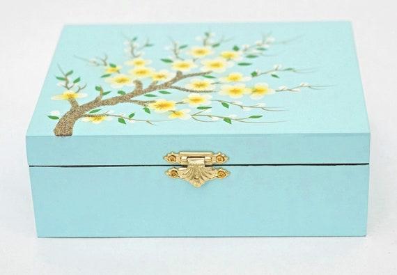 Lotus Flower Decorative Jewelry Trinket Keepsake Box
