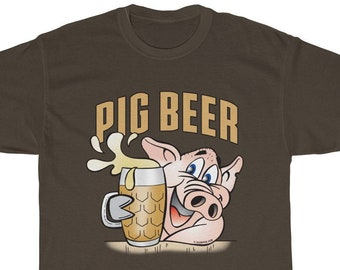 3a70cede Pig Beer T-Shirts, Beer Lovers Shirt, Happy Pig Tees, Unisex sizes, Funny  Cool Pig, Bar Shirts, Summer Party, Sizes S-5XL Globpen GP0615TS