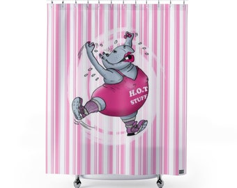 Hippo Shower Curtain 71x74 Hot Stuff Fitness My Funny Spa Gym Animal Sport Bathroom Lifestyle Casual And Stylish Globpen GP2205SC