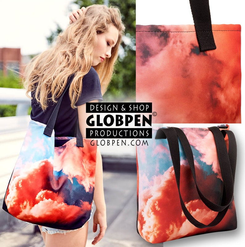 Womens Cafe Shopping Bag Globpen GP06CTB Nostalgia Coffee Tote Bag Large 15x15 Elegant Polyester Handle Bag Colorful two-sided Bag