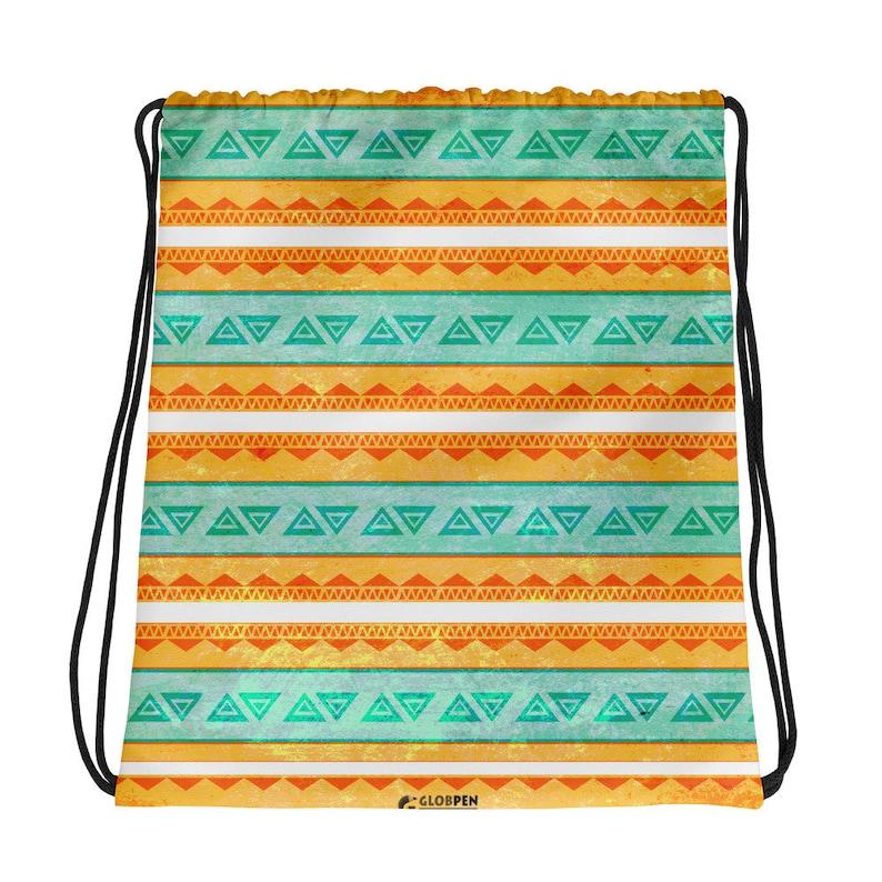 Drawstring Bag Tropic Surf beach bag light travel bag Ethnic Boho style Bohemian 2 sides tribal print Globpen GP3607D Gym Sport Bag