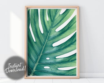 Monstera Print, Tropical Leaf Print, Monstera Leaf Print, Leaf Wall Art, Botanical Print, Printable Leaf Monstera Poster Leaf Print Wall Art