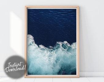 Sea Print, Ocean Wall Art, Nautical Art Print, Beach Wall Decor, Aerial Photography, Water Print, Sea Printable, Ocean Poster, Sea Poster