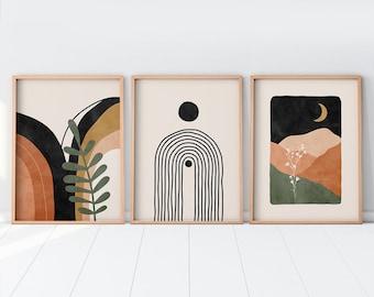 Boho Prints Set Of 3, Mid Century Modern Wall Art Neutral Abstract Geometric Prints Black Beige Orange Minimalist Terracotta Art Gallery Art