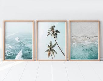 Beach Prints, Surf Print, Set Of 3 Wall Art Ocean Print Palm Tree Print Coastal Wall Art Set Of 3 Prints Photography Beach Decor Waves Print