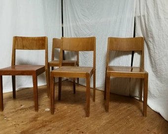 Set of 4 Midcentury Stacking Chairs Vintage Chairs