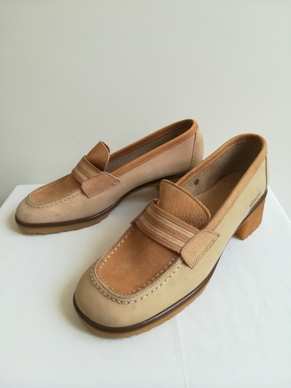 Deadstock '73 Kickers beige leather loafers with r
