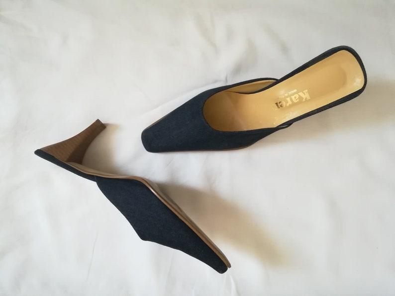 412e85c550463 Blue Denim Kitten Heels Mules square toe Size IT40 | Etsy
