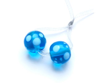 Polka dot beads, 2 glass beads, lampwork, pearl set, Italian Murano glass, sea and beach, handmade by PERSICO