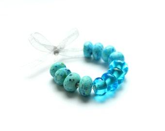 "12 glass beads ""sea"", lampwork, pearl set, Italian Murano glass, sea blue, handmade by PERSICO"