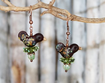 """Earrings """"Forest Birds in the Nest"""", made of Murano glass and copper, nest, lampwork, copper earwires, handmade by PERSICO"""