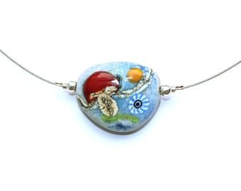 Murano glass thaler in pebble shape, toadstool, lucky mushroom, glass, stainless steel, silver, handmade by PERSICO
