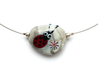 Murano glass taler, pebble look, ladybug, glass, stainless steel, silver, handmade by PERSICO