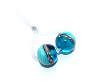 Sea glitter, 2 glass beads, lampwork, pearl set, Italian Murano glass, 925 silver, sea and beach, handmade by PERSICO