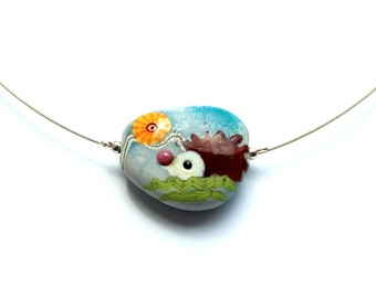 Murano glass taler in pebble shape, hedgehog, glass, stainless steel, silver, handmade by PERSICO