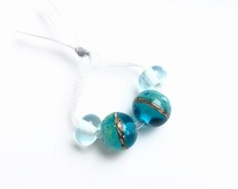 Beach holiday, 4 glass beads, lampwork, pearl set, Italian Murano glass, sea and beach, handmade by PERSICO