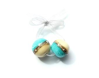 2 glass beads, lampwork, pearl set, Murano glass, sandy beach, sea and beach, for earrings, handmade by PERSICO